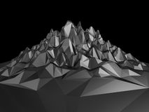 3d black abstract polygonal landscape background. Creative 3d black abstract faceted crystal background Royalty Free Stock Photography