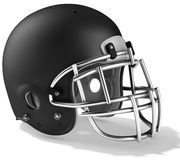 3d Black American football helmet. On a white background Stock Image