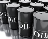 3d Black barrels of oil. Business concept. Stock Photos