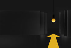 3D Black Boards With Light Bulb. 3D Black Boards, Light Bulb and Yellow Arrow on Floor,  3D illustration, 3D Render Royalty Free Stock Image