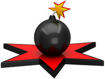 3D black bomb in the red star. On a white background Royalty Free Stock Photos
