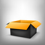 3D black box. 3D black outside orange inside open paper package on light white mesh background Royalty Free Stock Image