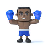 3d Black boxer holds his fists up in victory Royalty Free Stock Photos