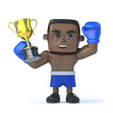 3d Black boxer holds up a gold cup trophy Royalty Free Stock Photo