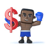 3d Black boxer holds US Dollar currency symbol Royalty Free Stock Photography