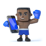 3d Black boxer with a new smartphone tablet. 3d render of a black boxer holding his new smartphone tablet device Stock Images