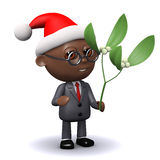 3d Black businessman Santa holding Xmas mistletoe. 3d render of a black businessman holding mistletoe and wearing a Santa Claus hat Royalty Free Stock Photos