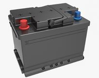 3D black car battery with black handle and red and blue terminal. S on white Stock Images
