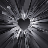 3d black crystal heart background, crystallized object, abstract. Creative wallpaper Stock Photos