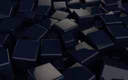3D black cubes background. Background design with 3D shiny black cubes royalty free illustration