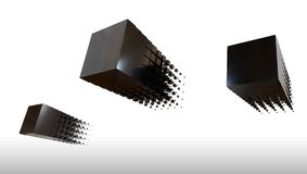3d black cubes flying, 3d rendering. Minimalist design fo three black metal cubes flying in the sky Royalty Free Stock Photo