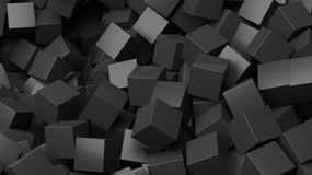 3D black cubes pile. Abstract background Royalty Free Stock Images
