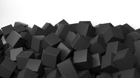 3D black cubes pile. On white with copy-space Stock Images