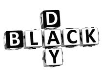 3D Black Day Crossword. On white background Royalty Free Stock Photo