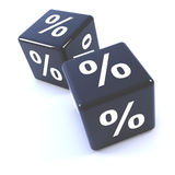 3d Black dice percentage symbols Royalty Free Stock Photography