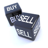 3d Black dice spell buy and sell Royalty Free Stock Photography