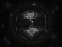 Black disco ball on black mosaic background landscape. 3D Black Disco Ball Background on Black Mosaic Background Royalty Free Stock Images