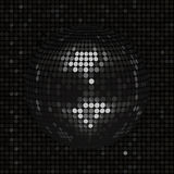Black disco ball on black mosaic background. 3D Black Disco Ball on Black Mosaic Background Royalty Free Stock Images