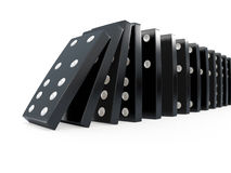 3d Black dominoes chain reaction Royalty Free Stock Photos
