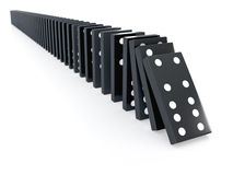3d Black dominos falling Royalty Free Stock Photo