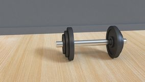 Black dumbbell on wood floor grey wall 3d rendering vector illustration