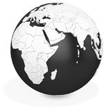 3d black earth globe. On white background Stock Photo