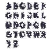 3D black font alphabet - simple capital letters. Funny font, plain line with border. Royalty Free Stock Images