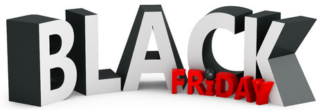 3d black friday big sale. On white background Stock Photo