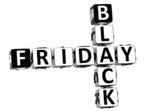 3D Black Friday Crossword. On white background Stock Images