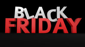 3D Black Friday. 3D label Black Friday on black background Stock Photography