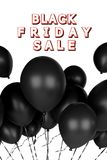 3d black friday sale poster. 3d black friday sale advertising poster with black balloons isolated in white background Stock Photography