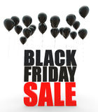 3d Black friday sale with black balloons Royalty Free Stock Photography