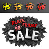 3d black friday sale tag design. Black realistic autumn leaves. Vector illustration.EPS 10 vector, Black friday discount. 3d black friday sale tag design. Black Stock Photography