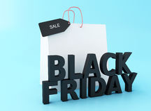3d Black friday with shopping bag. Stock Image