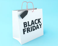 3d Black friday on shopping bag. Royalty Free Stock Photo