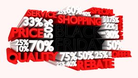3D Black Friday word and percentage discount signs. Black Friday word and percentage discount signs Stock Images