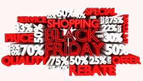3D Black Friday word and percentage discount signs. Black Friday word and percentage discount signs Royalty Free Stock Photos