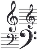 3D black G and F clef musical symbols Stock Photo