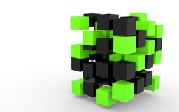 3d black and green cubes abstract structure. 3d render of black and green cubes abstract structure Royalty Free Stock Image