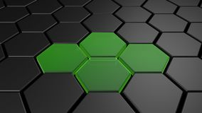 3d black and green hexagon background, 3d render. Illustration Stock Photography