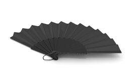 3d black hand fan. Black hand fan  on white background. 3d rendering Stock Photography