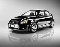 3D Black Hatchback Car on White Background Royalty Free Stock Image