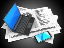 3d black laptop. 3d illustration of business charts and black laptop over black background Stock Photos