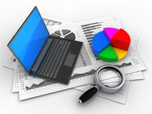 3d black laptop. 3d illustration of business charts and black laptop over white background with pie chart Stock Photo