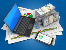 3d black laptop. 3d illustration of business documents and black laptop over blue background with money Royalty Free Stock Images