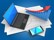 3d black laptop. 3d illustration of diagram papers and black laptop over blue background with arrow graph Stock Image