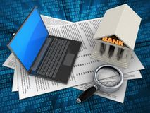 3d black laptop. 3d illustration of papers and black laptop over digital background with bank Stock Photography