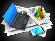 3d black laptop. 3d illustration of business charts and black laptop over black background with graph Stock Image