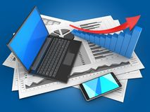 3d black laptop. 3d illustration of business charts and black laptop over blue background with arrow graph Stock Photography