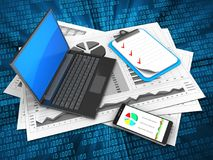 3d black laptop. 3d illustration of business charts and black laptop over digital background with clipboard Stock Images